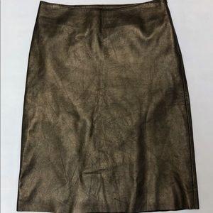 Theory 0 Skirt 100% Leather A-Line Bronze Metallic